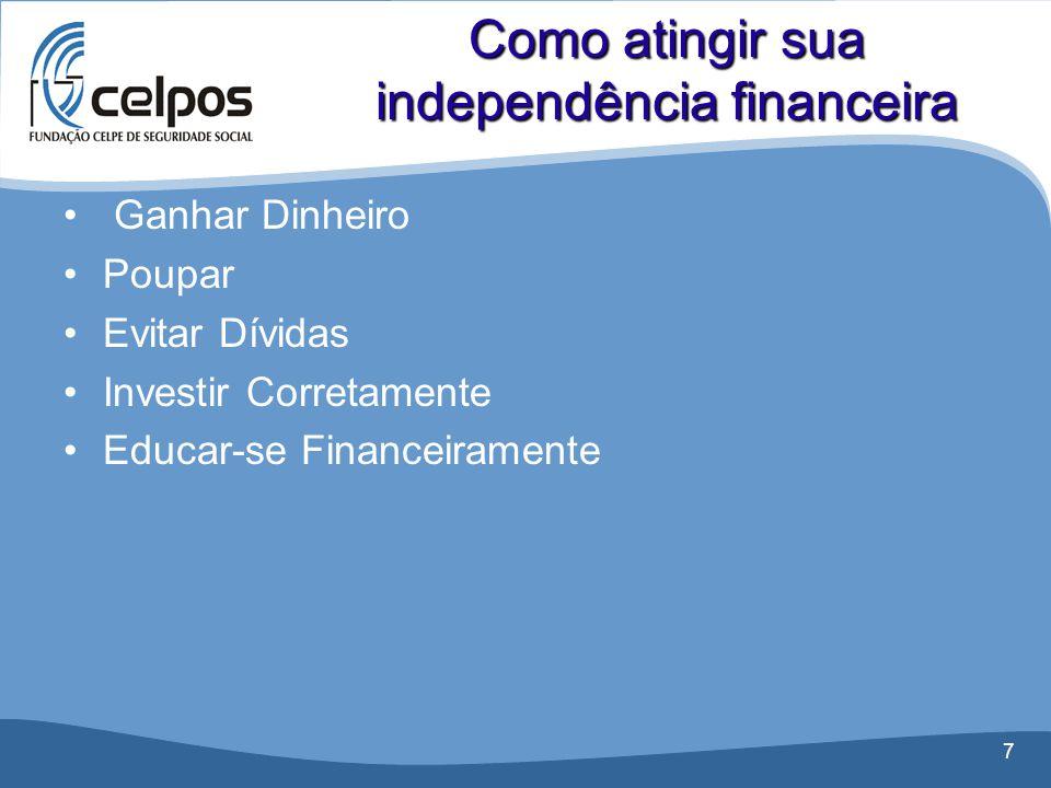 7 • Ganhar Dinheiro •Poupar •Evitar Dívidas •Investir Corretamente •Educar-se Financeiramente Como atingir sua independência financeira