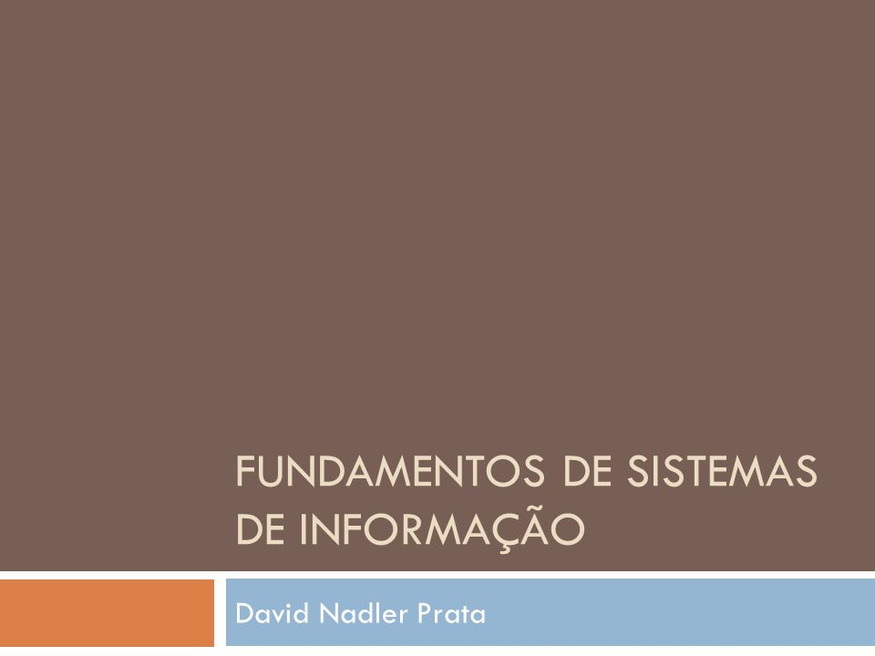FUNDAMENTOS DE SISTEMAS DE INFORMAÇÃO David Nadler Prata