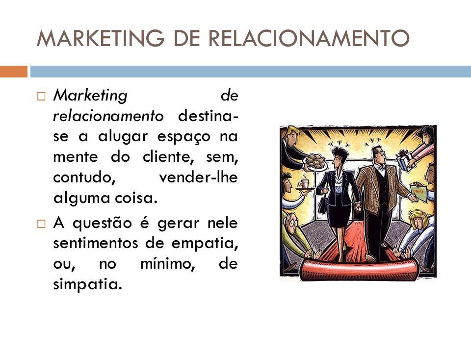 MARKETING DE RELACIONAMENTO  Marketing de relacionamento destina- se a alugar espaço na mente do cliente, sem, contudo, vender-lhe alguma coisa.  A