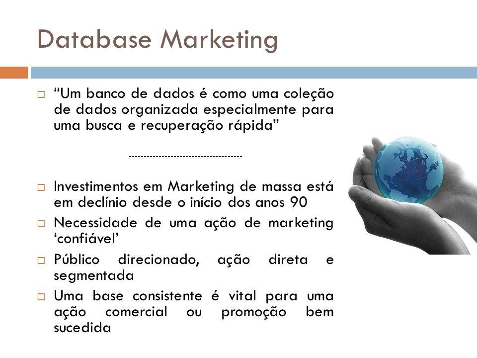 """Database Marketing  """"Um banco de dados é como uma coleção de dados organizada especialmente para uma busca e recuperação rápida"""" --------------------"""