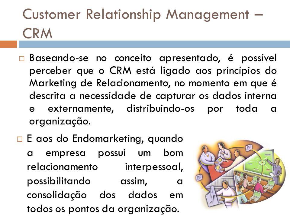 Customer Relationship Management – CRM  Baseando-se no conceito apresentado, é possível perceber que o CRM está ligado aos princípios do Marketing de