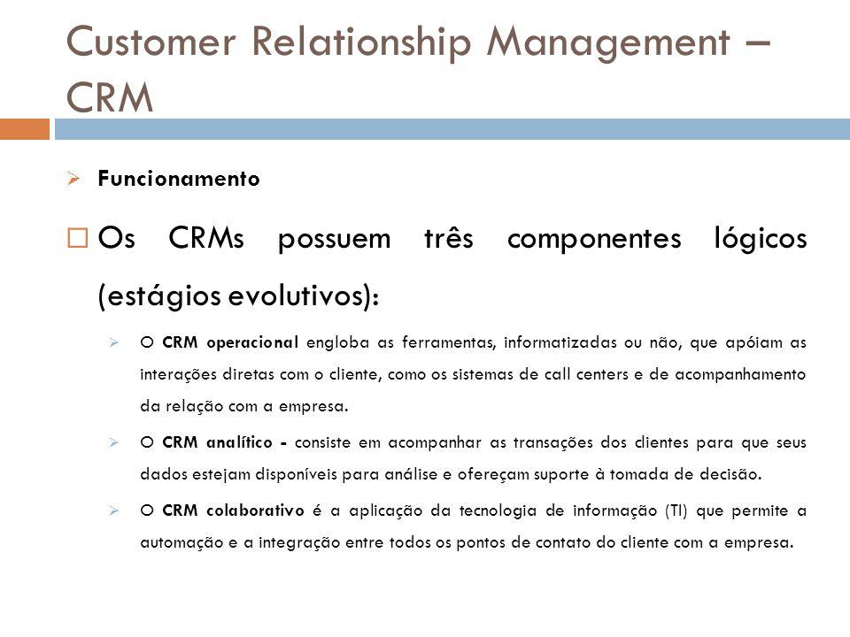 Customer Relationship Management – CRM  Funcionamento  Os CRMs possuem três componentes lógicos (estágios evolutivos):  O CRM operacional engloba a
