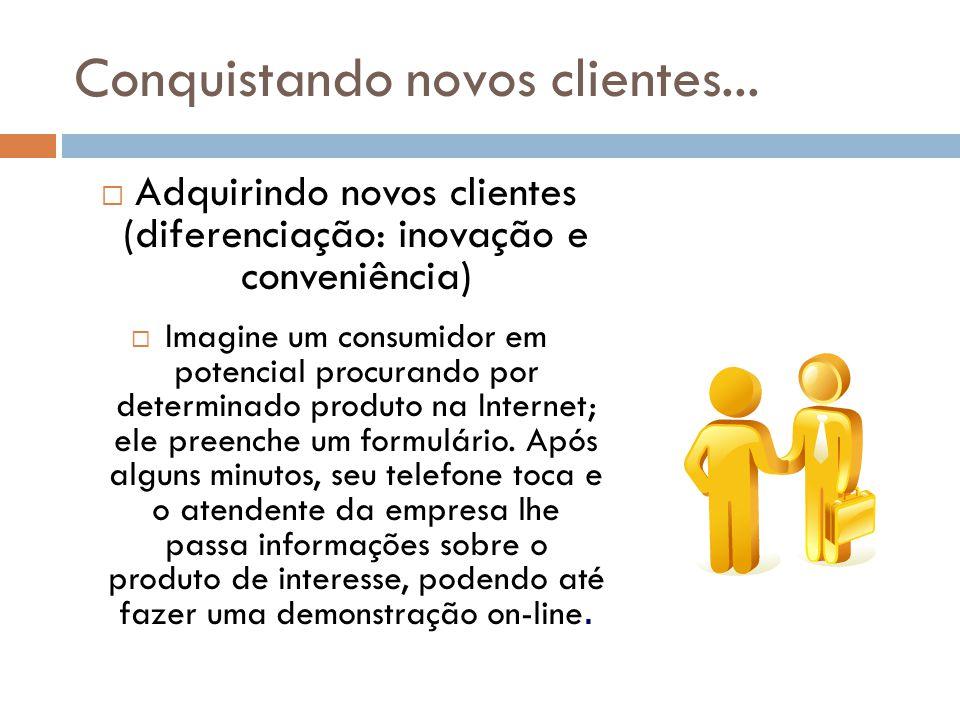 Conquistando novos clientes...  Adquirindo novos clientes (diferenciação: inovação e conveniência)  Imagine um consumidor em potencial procurando po