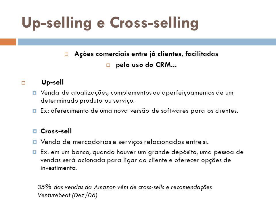 Up-selling e Cross-selling  Ações comerciais entre já clientes, facilitadas  pelo uso do CRM...  Up-sell  Venda de atualizações, complementos ou a
