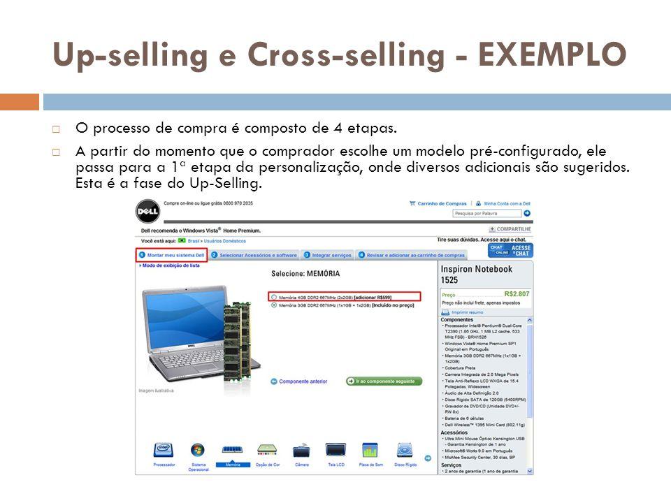 Up-selling e Cross-selling - EXEMPLO  O processo de compra é composto de 4 etapas.  A partir do momento que o comprador escolhe um modelo pré-config
