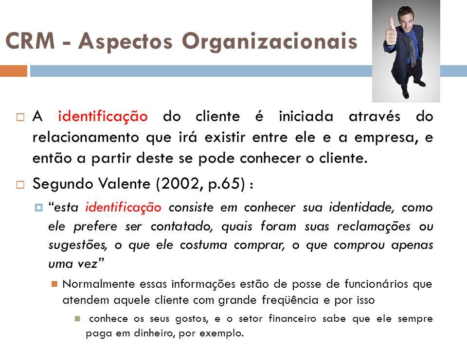 CRM - Aspectos Organizacionais  A identificação do cliente é iniciada através do relacionamento que irá existir entre ele e a empresa, e então a part