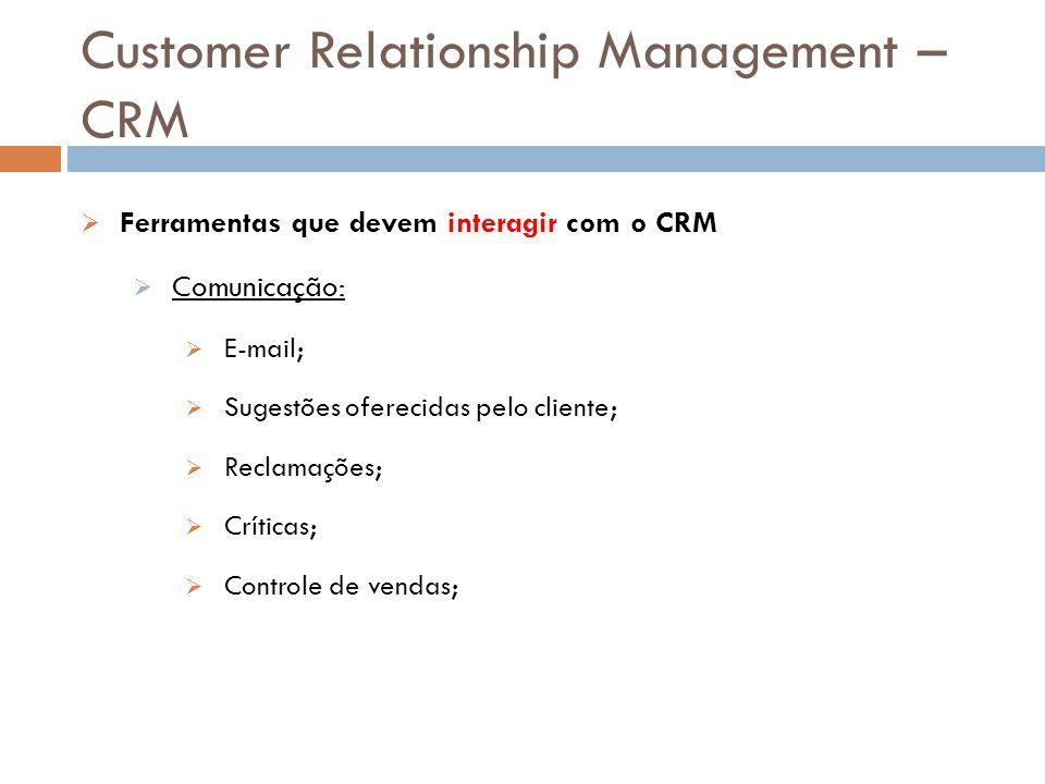 Customer Relationship Management – CRM  Ferramentas que devem interagir com o CRM  Comunicação:  E-mail;  Sugestões oferecidas pelo cliente;  Rec