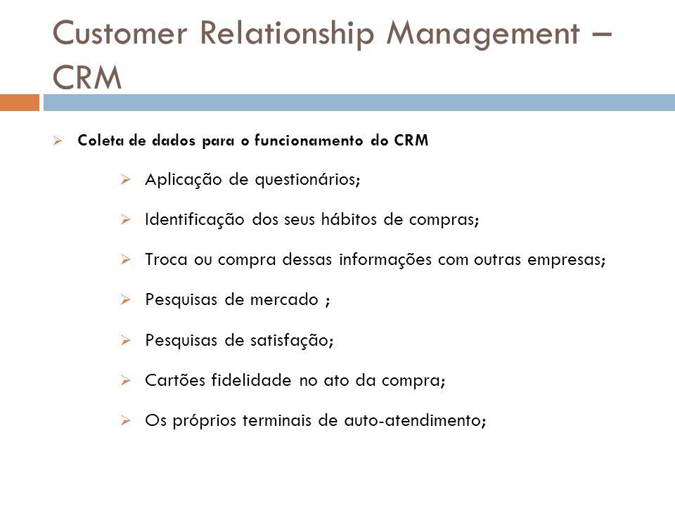 Customer Relationship Management – CRM  Coleta de dados para o funcionamento do CRM  Aplicação de questionários;  Identificação dos seus hábitos de