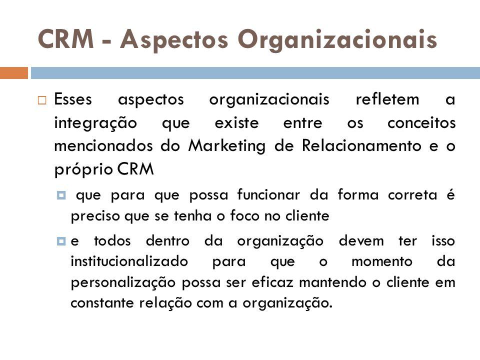 CRM - Aspectos Organizacionais  Esses aspectos organizacionais refletem a integração que existe entre os conceitos mencionados do Marketing de Relaci