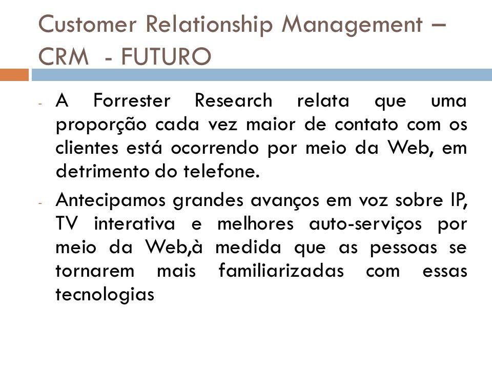Customer Relationship Management – CRM - FUTURO - A Forrester Research relata que uma proporção cada vez maior de contato com os clientes está ocorren