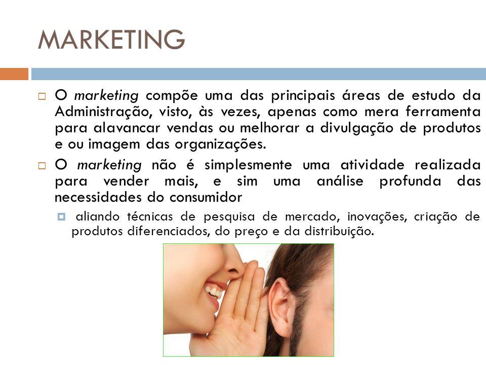 MARKETING  O marketing compõe uma das principais áreas de estudo da Administração, visto, às vezes, apenas como mera ferramenta para alavancar vendas