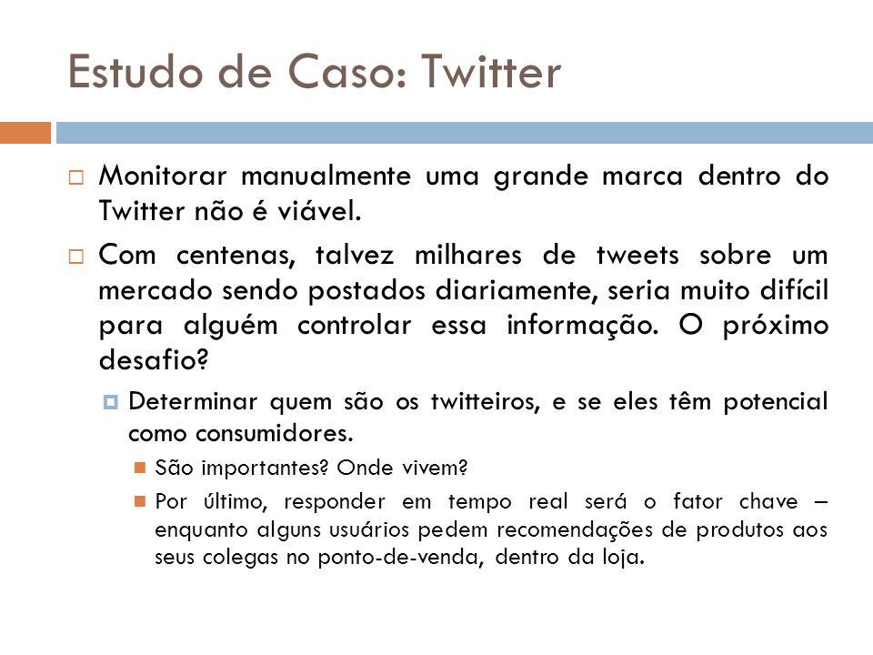 Estudo de Caso: Twitter  Monitorar manualmente uma grande marca dentro do Twitter não é viável.  Com centenas, talvez milhares de tweets sobre um me