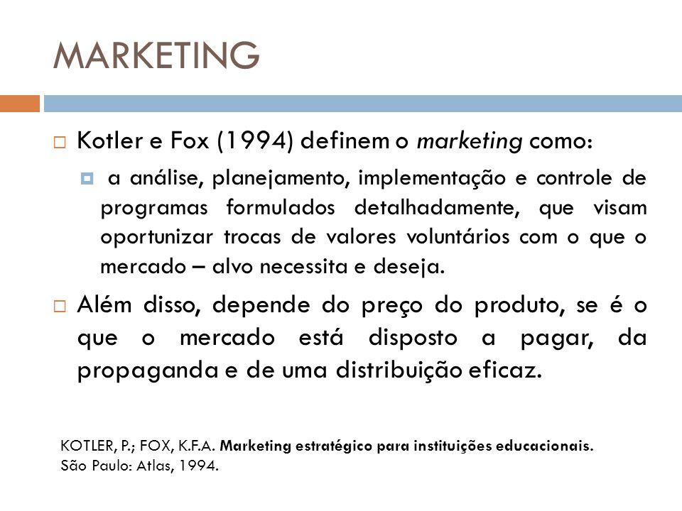 MARKETING  Kotler e Fox (1994) definem o marketing como:  a análise, planejamento, implementação e controle de programas formulados detalhadamente,