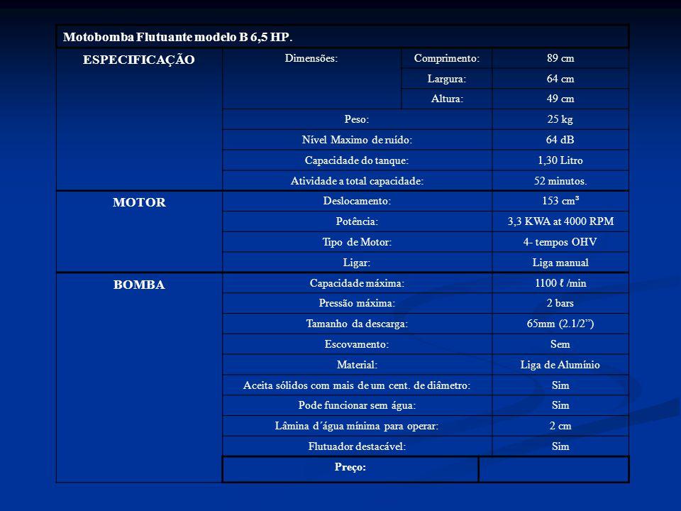 Motobomba Flutuante modelo B 6,5 HP. ESPECIFICAÇÃO Dimensões:Comprimento:89 cm Largura:64 cm Altura:49 cm Peso:25 kg Nível Maximo de ruído:64 dB Capac