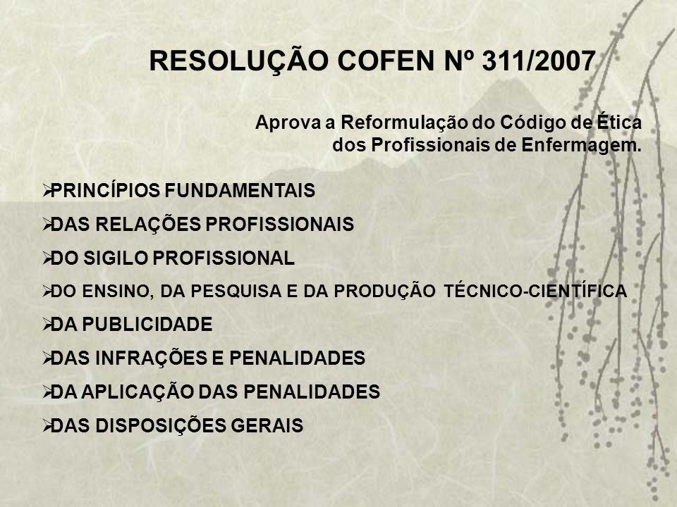 Art. 1º - Fica aprovado o Código de Ética dos Profissionais de Enfermagem para aplicação na jurisdição de todos os Conselhos de Enfermagem. Art. 2º -