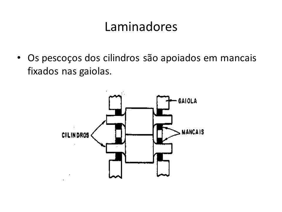 Laminadores • Os pescoços dos cilindros são apoiados em mancais fixados nas gaiolas.