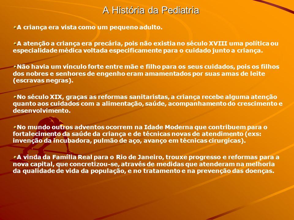 A História da Pediatria 1740 Recolhimento de orfaos da Santa Casa de Misericordia (educa os orfaos de legitimo matrimonio, filhos de militares que morreram em combate) Almir Madeira a exemplo de Morcovo Filho que fundou o Intistuto e Assistência à Infância de Niterói em 1914 (centro de profilaxia e terapêutica e escola de formação de pediatria) 1808 chegada da Familia Real Portuguesa ao Brasil (medicina vinculada a higiene publica e medicalizacao) incrementaram o crescimento da cidade, construcao de hospitais, prisoes, fabricas, hospicios.