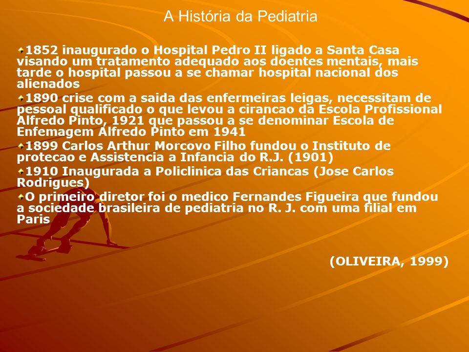A História da Pediatria 1920 Departamento Nacional de Saude Publica (DNSP) dirigida por Carlos Chagas Implantacao da pratica da enfermagem em saude publica- missao tecnica de enfermeiras americanas – 1921 as enfermeiras chegaram ao R.J.
