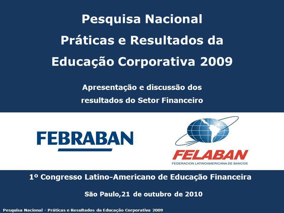 Pesquisa Nacional - Práticas e Resultados da Educação Corporativa 2009 Patrocínio: Pesquisa Nacional Práticas e Resultados da Educação Corporativa 2009