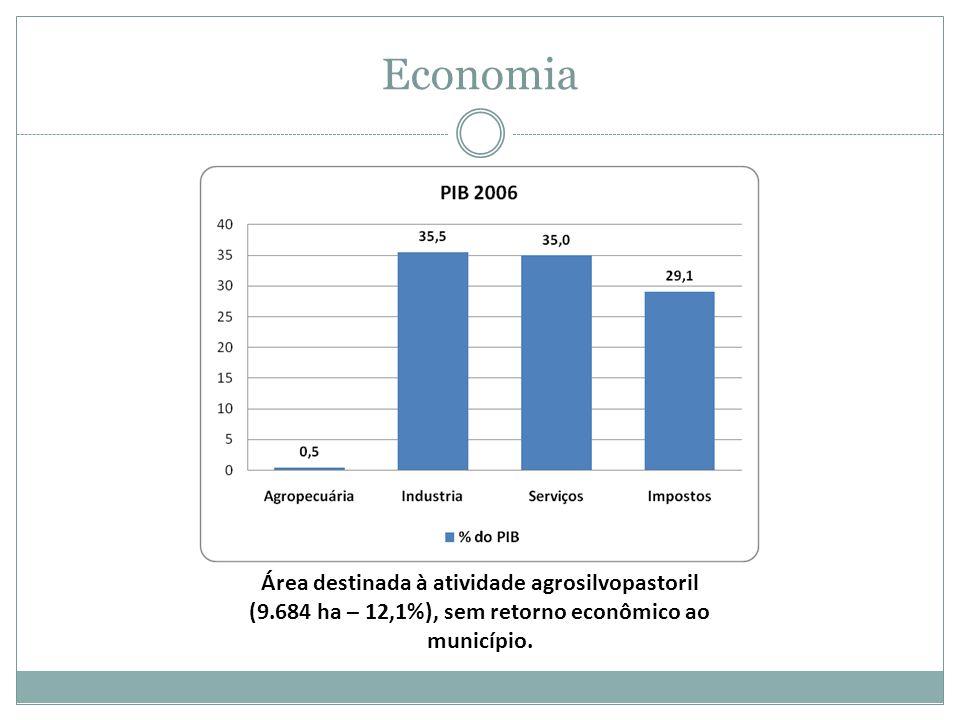 Economia Área destinada à atividade agrosilvopastoril (9.684 ha – 12,1%), sem retorno econômico ao município.