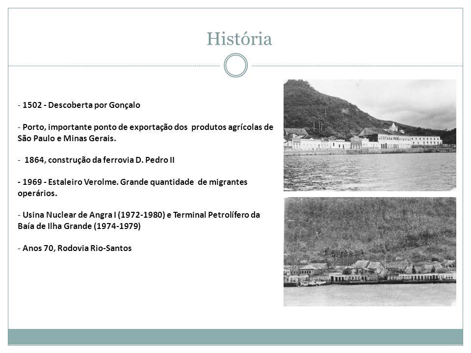 - 1502 - Descoberta por Gonçalo - Porto, importante ponto de exportação dos produtos agrícolas de São Paulo e Minas Gerais.