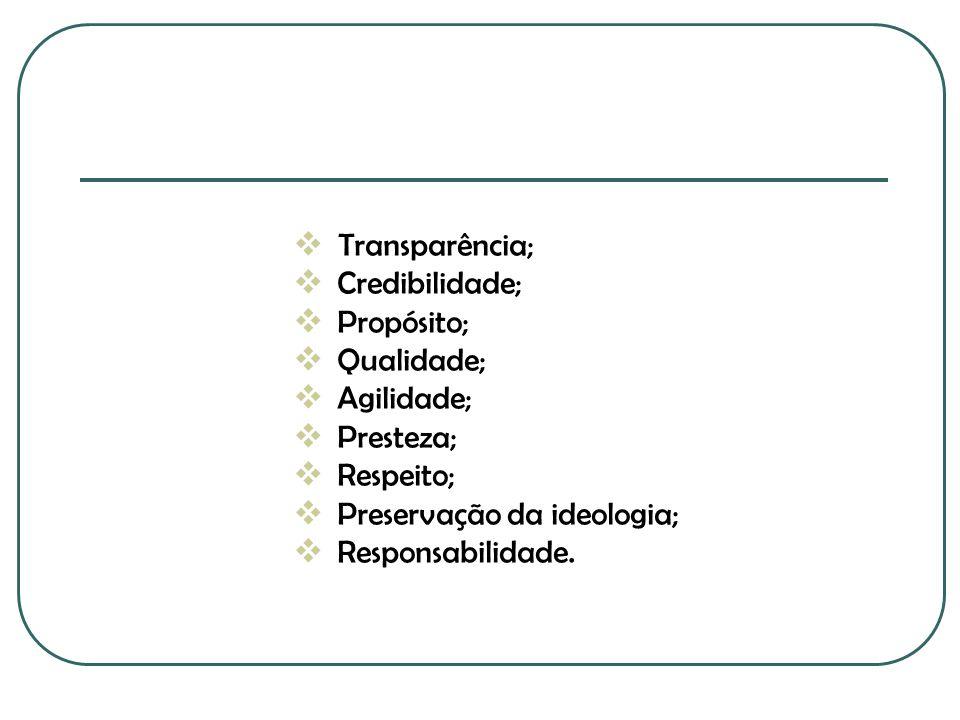 Transparência;  Credibilidade;  Propósito;  Qualidade;  Agilidade;  Presteza;  Respeito;  Preservação da ideologia;  Responsabilidade.