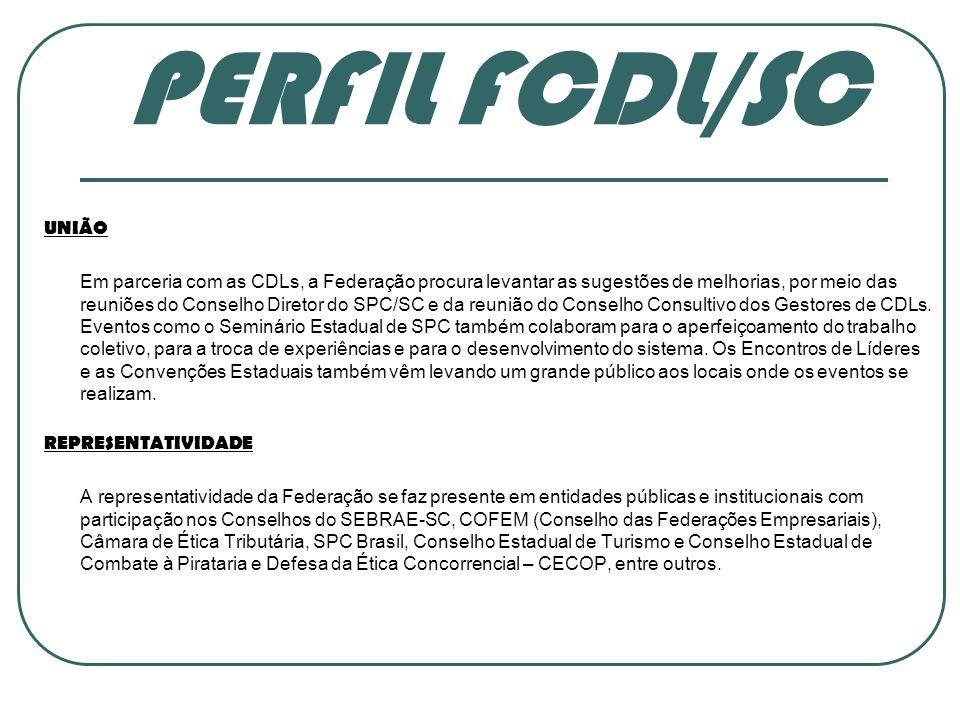 PERFIL FCDL/SC UNIÃO Em parceria com as CDLs, a Federação procura levantar as sugestões de melhorias, por meio das reuniões do Conselho Diretor do SPC/SC e da reunião do Conselho Consultivo dos Gestores de CDLs.