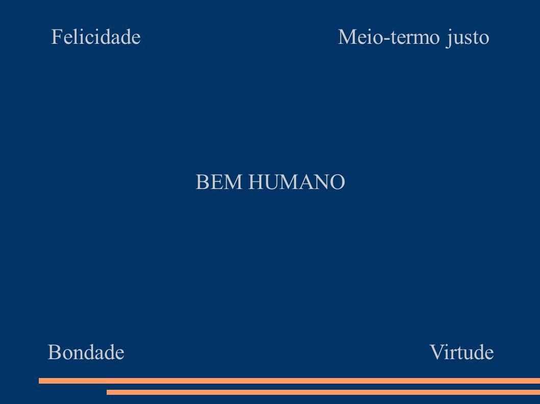 Felicidade Meio-termo justo BEM HUMANO Bondade Virtude