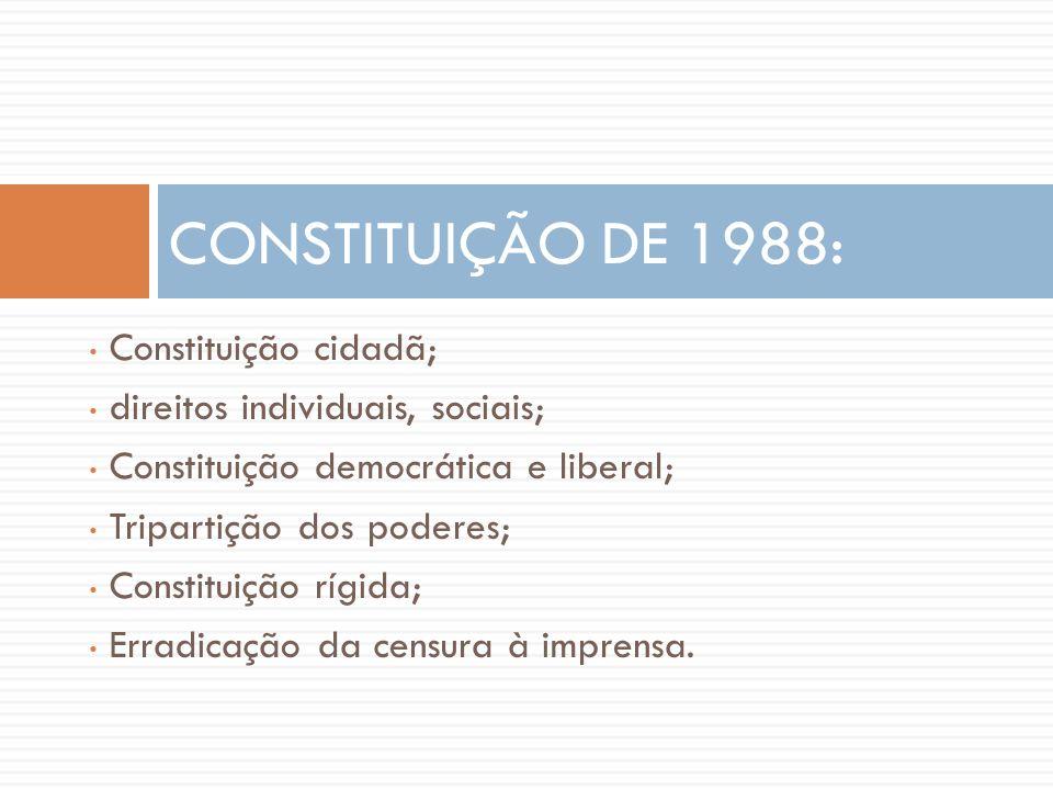 • Constituição cidadã; • direitos individuais, sociais; • Constituição democrática e liberal; • Tripartição dos poderes; • Constituição rígida; • Erra