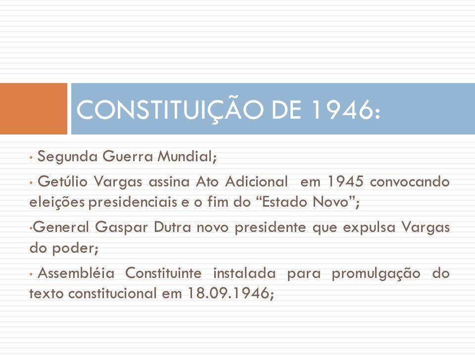 """• Segunda Guerra Mundial; • Getúlio Vargas assina Ato Adicional em 1945 convocando eleições presidenciais e o fim do """"Estado Novo""""; • General Gaspar D"""