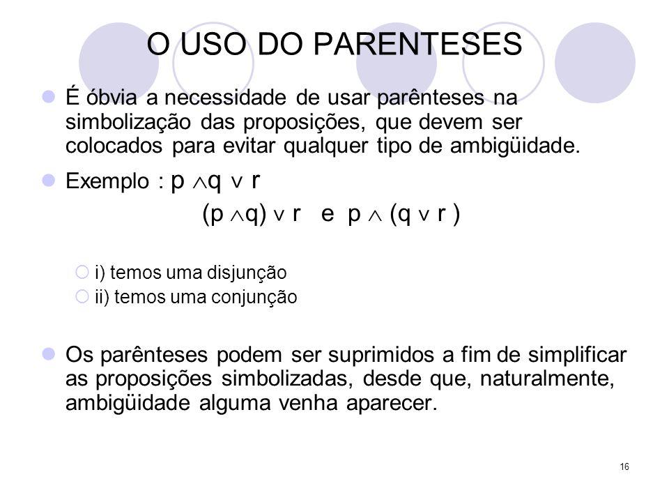 16 O USO DO PARENTESES  É óbvia a necessidade de usar parênteses na simbolização das proposições, que devem ser colocados para evitar qualquer tipo de ambigüidade.
