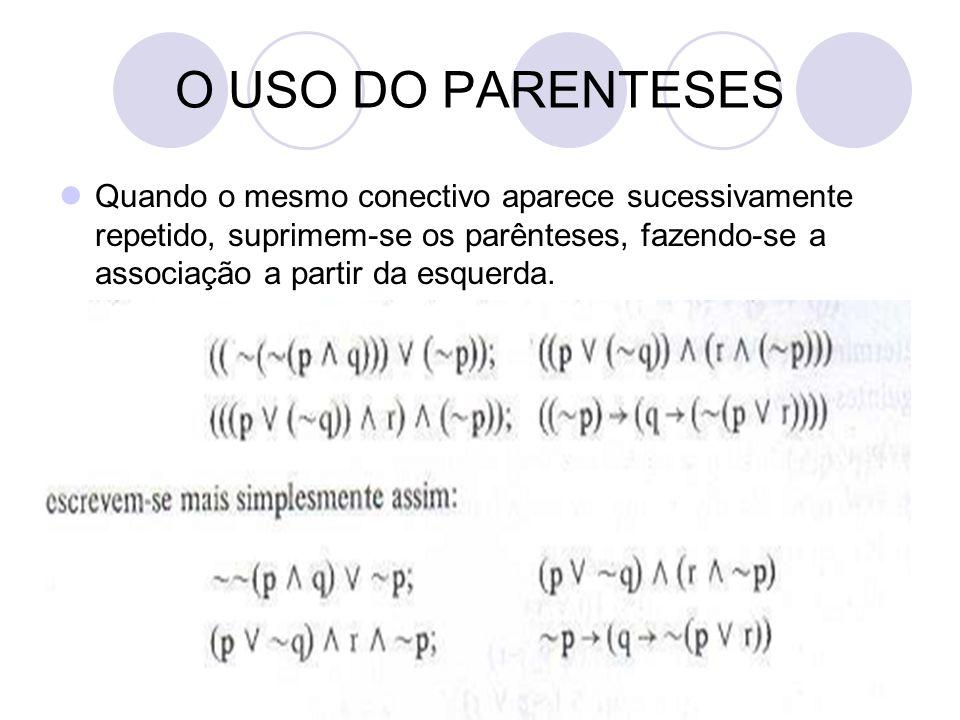 18 O USO DO PARENTESES  Quando o mesmo conectivo aparece sucessivamente repetido, suprimem-se os parênteses, fazendo-se a associação a partir da esquerda.