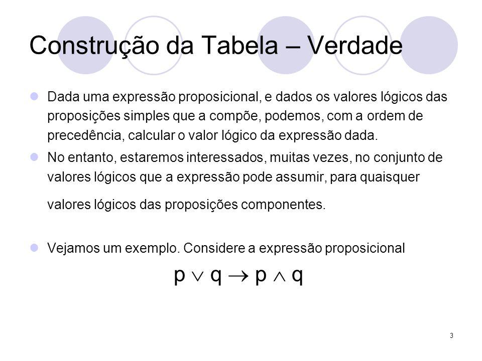 3 Construção da Tabela – Verdade  Dada uma expressão proposicional, e dados os valores lógicos das proposições simples que a compõe, podemos, com a o