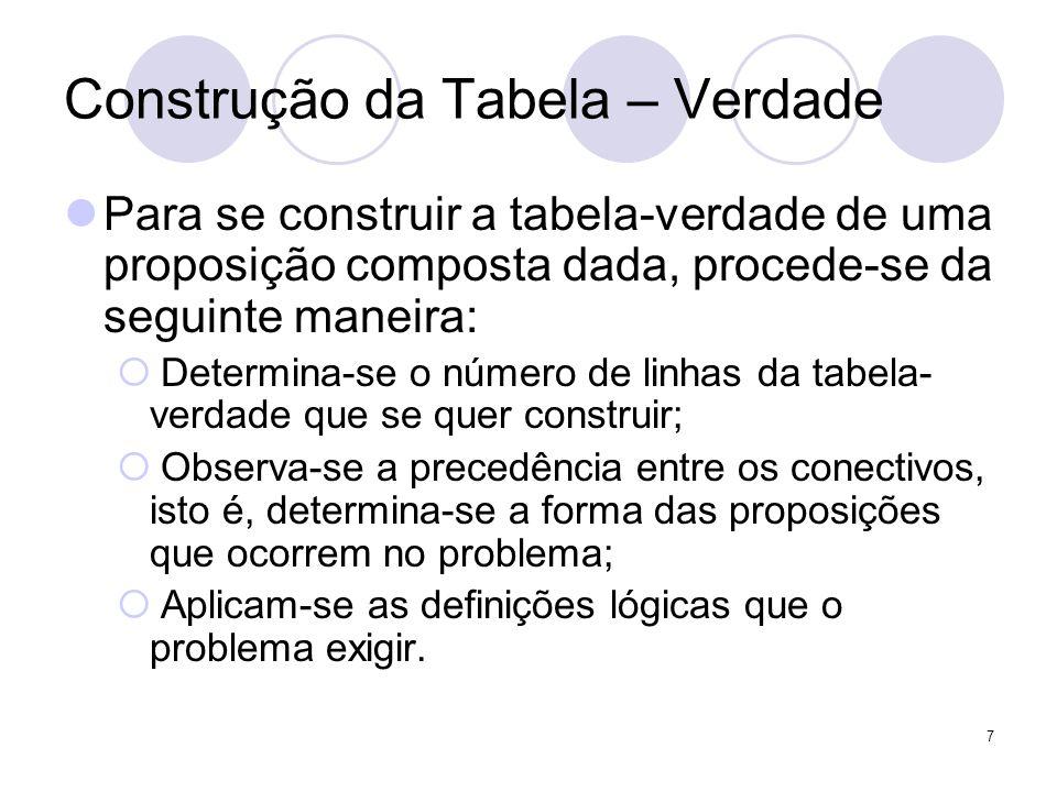 8 Construção da Tabela – Verdade  É possível construir a tabela-verdade correspondente a qualquer proposição composta dada  Tabela-verdade mostrará exatamente os casos em que a proposição composta será verdadeira (V) ou falsa (F)  Admitindo-se, que o seu valor lógico só depende dos valores lógicos das proposições simples componentes.