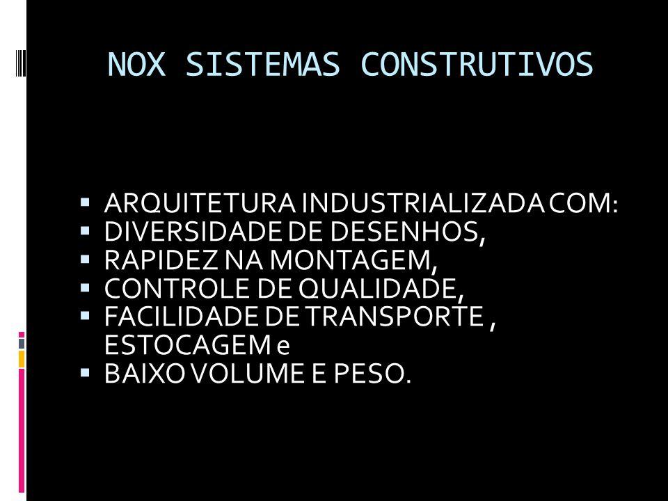 NOX SISTEMAS CONSTRUTIVOS  ARQUITETURA INDUSTRIALIZADA COM:  DIVERSIDADE DE DESENHOS,  RAPIDEZ NA MONTAGEM,  CONTROLE DE QUALIDADE,  FACILIDADE D