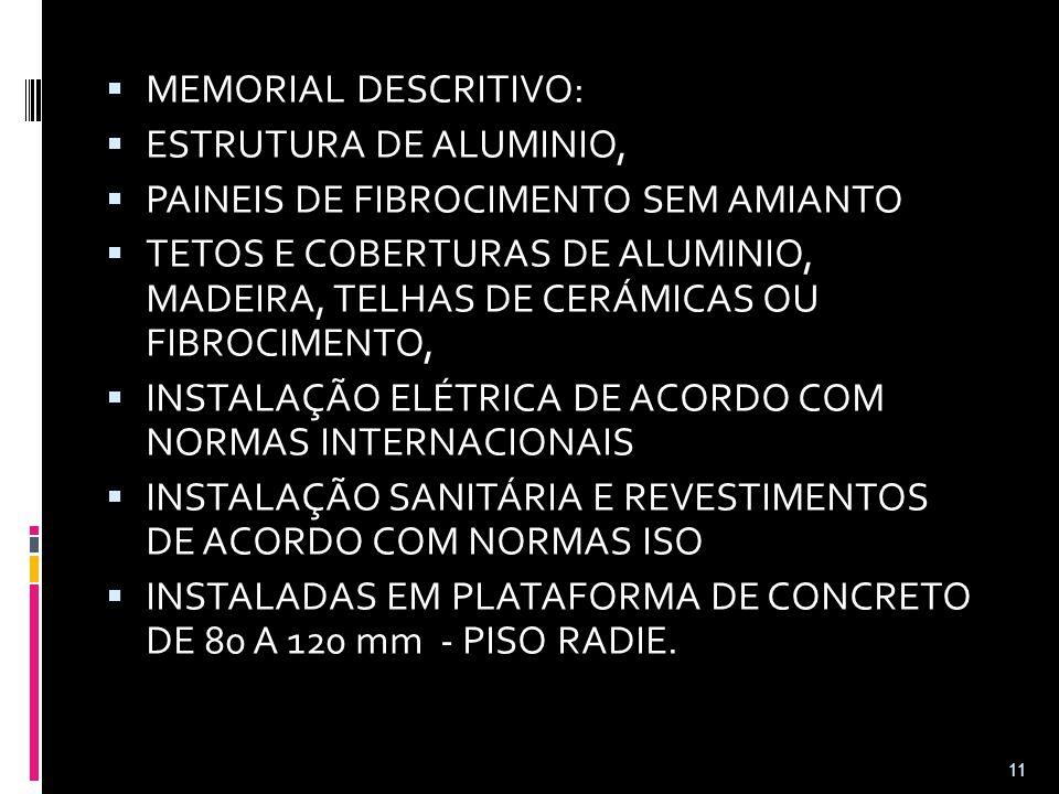  MEMORIAL DESCRITIVO:  ESTRUTURA DE ALUMINIO,  PAINEIS DE FIBROCIMENTO SEM AMIANTO  TETOS E COBERTURAS DE ALUMINIO, MADEIRA, TELHAS DE CERÁMICAS O