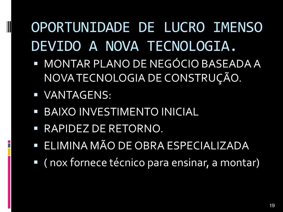 OPORTUNIDADE DE LUCRO IMENSO DEVIDO A NOVA TECNOLOGIA.  MONTAR PLANO DE NEGÓCIO BASEADA A NOVA TECNOLOGIA DE CONSTRUÇÃO.  VANTAGENS:  BAIXO INVESTI