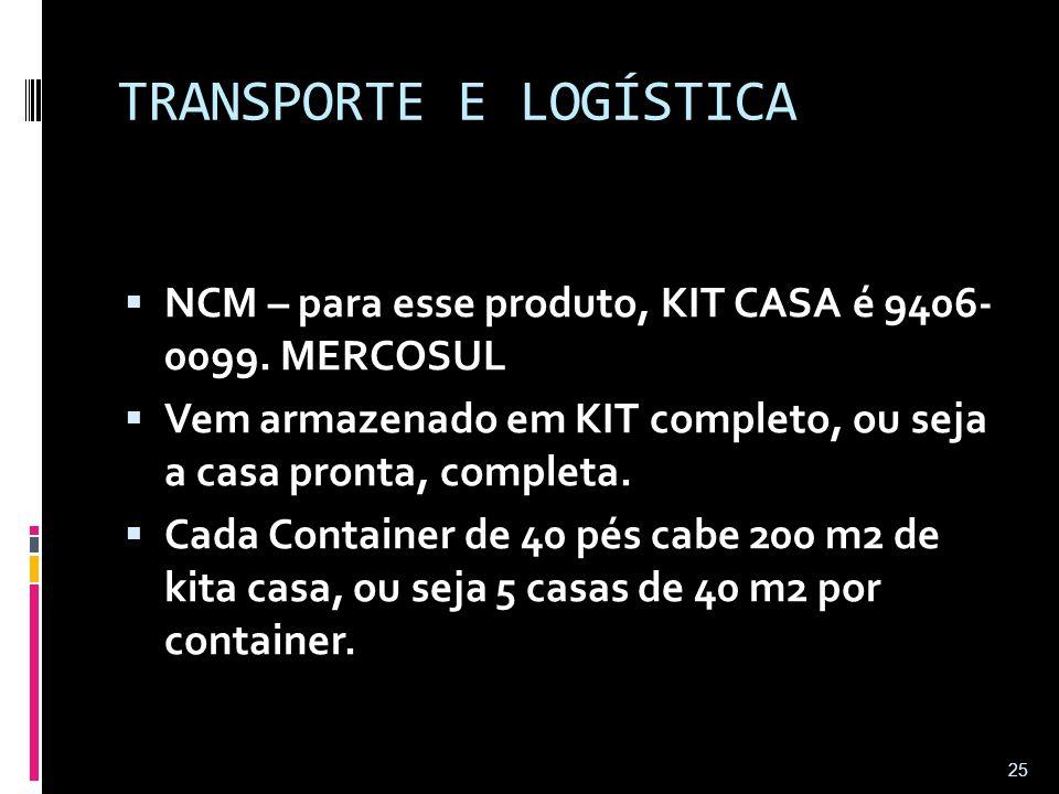 TRANSPORTE E LOGÍSTICA  NCM – para esse produto, KIT CASA é 9406- 0099. MERCOSUL  Vem armazenado em KIT completo, ou seja a casa pronta, completa. 