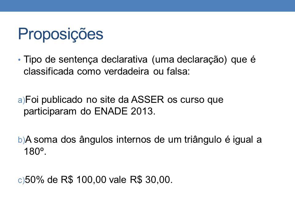 Proposições • Tipo de sentença declarativa (uma declaração) que é classificada como verdadeira ou falsa: a) Foi publicado no site da ASSER os curso que participaram do ENADE 2013.