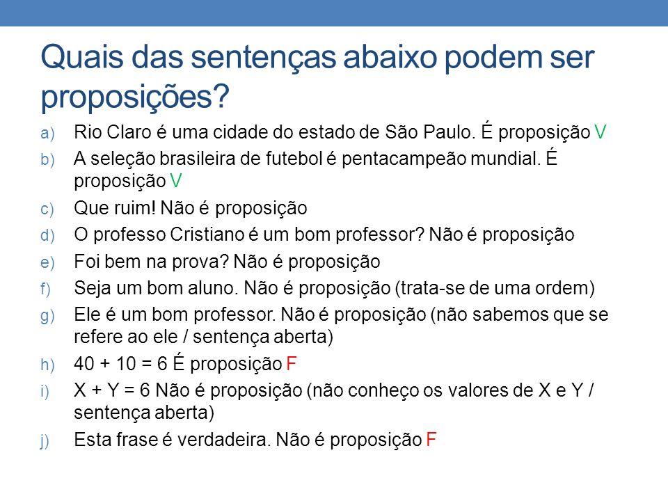 Quais das sentenças abaixo podem ser proposições.a) Rio Claro é uma cidade do estado de São Paulo.