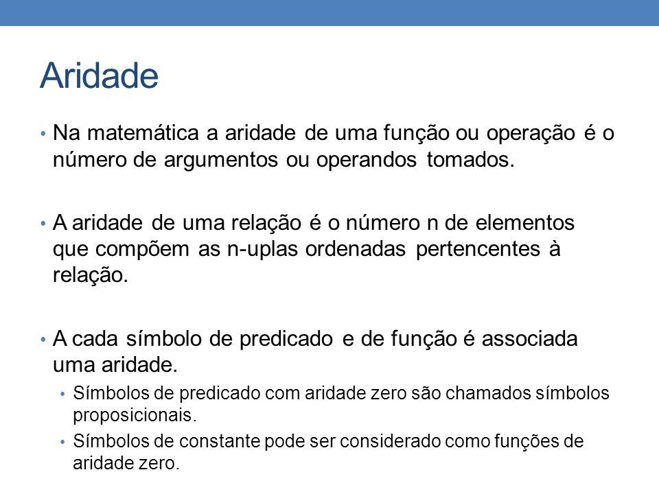 Aridade • Na matemática a aridade de uma função ou operação é o número de argumentos ou operandos tomados.