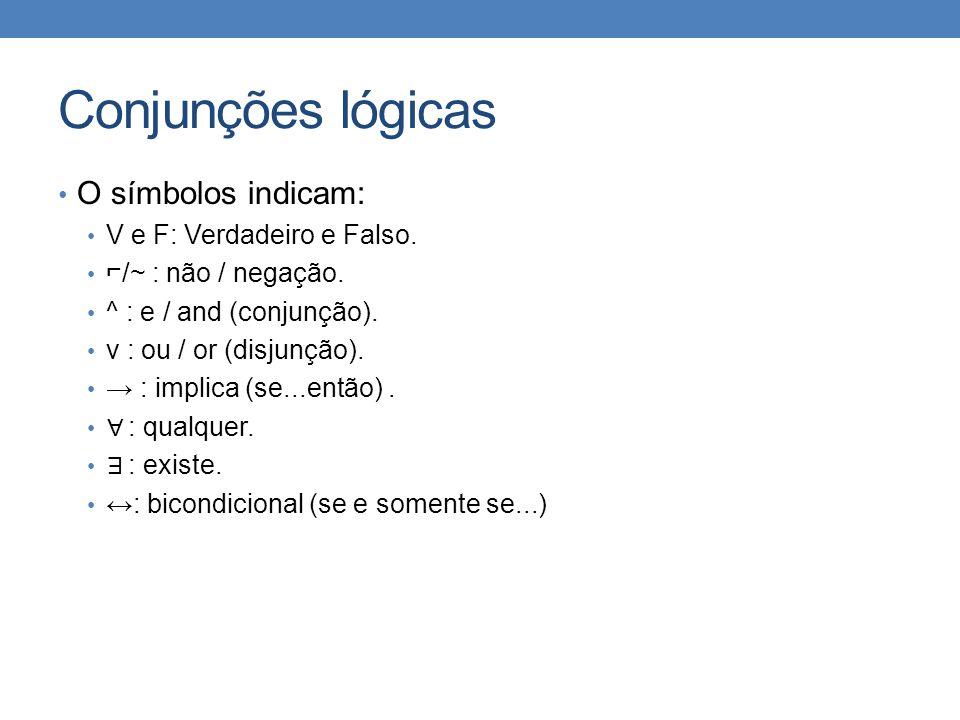 Conjunções lógicas • O símbolos indicam: • V e F: Verdadeiro e Falso.