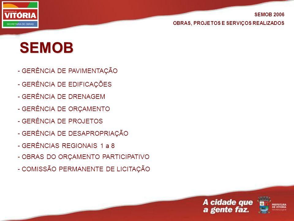 SEMOB 2006 OBRAS, PROJETOS E SERVIÇOS REALIZADOS - GERÊNCIA DE DRENAGEM - GERÊNCIA DE PAVIMENTAÇÃO - GERÊNCIA DE DESAPROPRIAÇÃO - GERÊNCIA DE PROJETOS - GERÊNCIAS REGIONAIS 1 a 8 - GERÊNCIA DE EDIFICAÇÕES - GERÊNCIA DE ORÇAMENTO - COMISSÃO PERMANENTE DE LICITAÇÃO SEMOB - OBRAS DO ORÇAMENTO PARTICIPATIVO