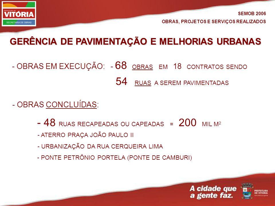 GERÊNCIA DE PAVIMENTAÇÃO E MELHORIAS URBANAS - OBRAS CONCLUÍDAS:CONCLUÍDAS - OBRAS EM EXECUÇÃO: - 68 OBRAS EM 18 CONTRATOS SENDOOBRAS - ATERRO PRAÇA JOÃO PAULO II - URBANIZAÇÃO DA RUA CERQUEIRA LIMA 54 RUAS A SEREM PAVIMENTADASRUAS - PONTE PETRÔNIO PORTELA (PONTE DE CAMBURI) SEMOB 2006 OBRAS, PROJETOS E SERVIÇOS REALIZADOS - 48 RUAS RECAPEADAS OU CAPEADAS = 200 MIL M 2
