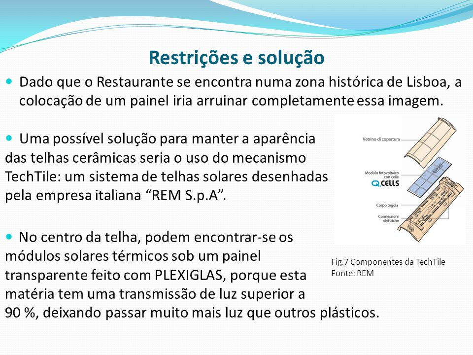 Restrições e solução  Dado que o Restaurante se encontra numa zona histórica de Lisboa, a colocação de um painel iria arruinar completamente essa imagem.