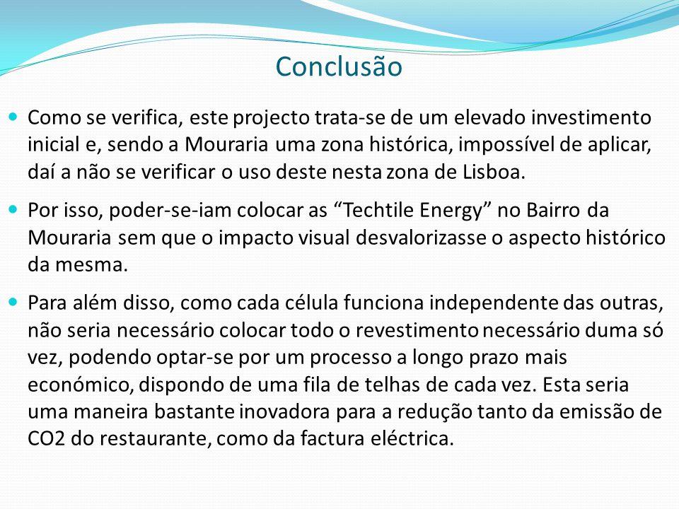 Conclusão  Como se verifica, este projecto trata-se de um elevado investimento inicial e, sendo a Mouraria uma zona histórica, impossível de aplicar, daí a não se verificar o uso deste nesta zona de Lisboa.