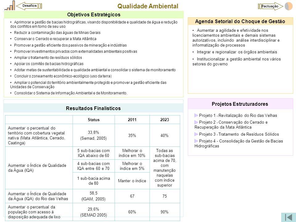 Qualidade Ambiental •Projeto 1 - Revitalização do Rio das Velhas •Projeto 2 - Conservação do Cerrado e Recuperação da Mata Atlântica •Projeto 3 - Trat