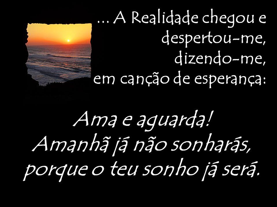 ...A Realidade chegou e despertou-me, dizendo-me, em canção de esperança: Ama e aguarda.