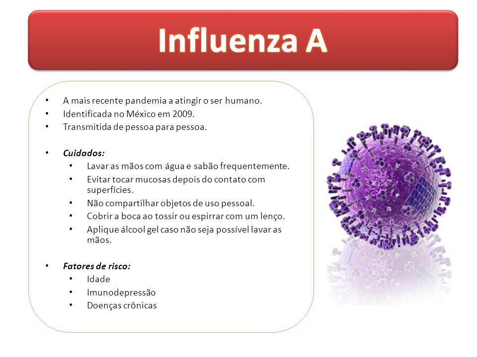 • A mais recente pandemia a atingir o ser humano. • Identificada no México em 2009. • Transmitida de pessoa para pessoa. • Cuidados: • Lavar as mãos c