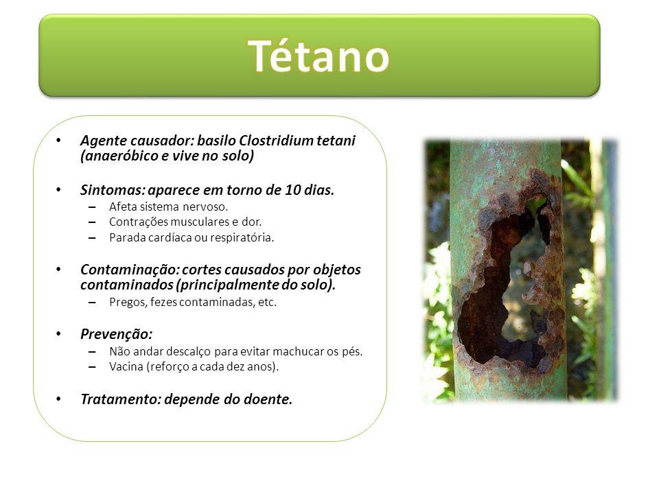 • Agente causador: basilo Clostridium tetani (anaeróbico e vive no solo) • Sintomas: aparece em torno de 10 dias. – Afeta sistema nervoso. – Contraçõe